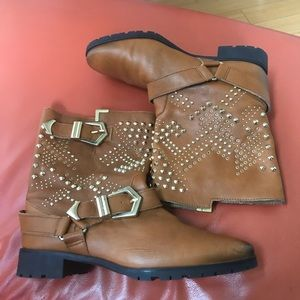 Zara real leather boots coniac color size 6.5